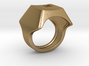 Keyboard Ring in Polished Gold Steel