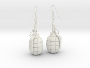 F1 Earrings in White Strong & Flexible