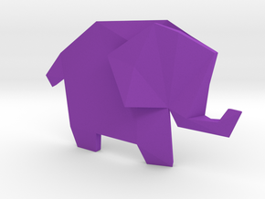 Origami Elephant  in Purple Strong & Flexible Polished