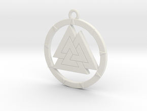 Valknut Pendant in White Strong & Flexible