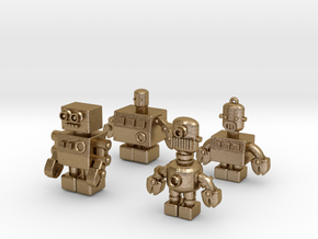 3D Printing Retro Robots Collection in Polished Gold Steel