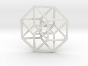 4D Hypercube (Tesseract) small in White Strong & Flexible