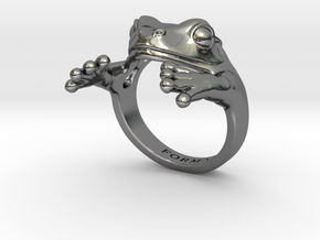 Frog Hug Ring in Premium Silver