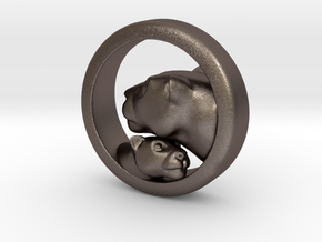 Lioness and Cub Pendant in Stainless Steel