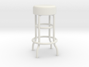 1:24 Metal Stool (Not Full Size) in White Strong & Flexible