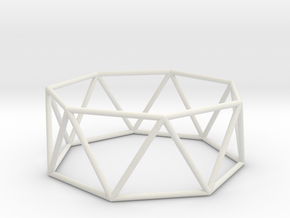 heptagonal antiprism 70mm in White Strong & Flexible