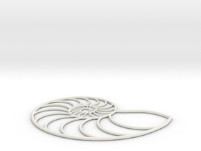 Nautilus Wireframe | pendant in White Strong & Flexible
