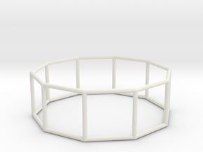 decagonal prism 70mm in White Strong & Flexible