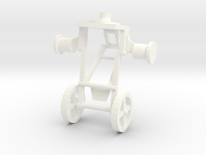 1:43 Trailer Jockey Wheels in White Strong & Flexible Polished