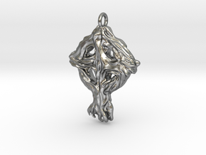 Pendant Celtic Cross Tree in Raw Silver