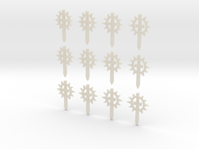 12 28mm Sun Sword Symbols in White Acrylic