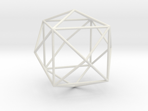 TetrakisHexahedron 70mm in White Strong & Flexible