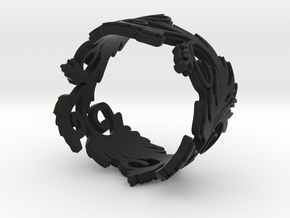 Blossom ring in plastic in Black Strong & Flexible