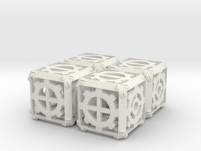 Steampunk d6 Fudge 4d6 Set in White Strong & Flexible