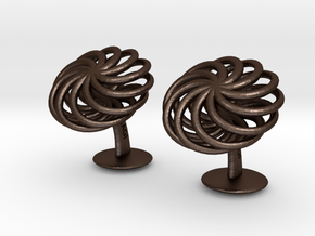 SpiralCufflinks2 in Matte Bronze Steel