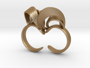 Ribbon Double Ring 8/9 in Matte Gold Steel