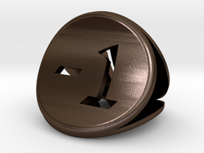 The Confused Coin in Polished Bronze Steel