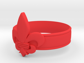 Fleur-de-lis Ring  in Red Strong & Flexible Polished