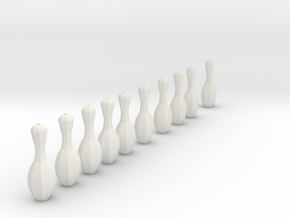 bowling pins, for mini bowling needs thread to att in White Strong & Flexible