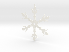 Snowflake Scrat Ornament in White Strong & Flexible Polished
