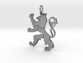 Roude Leiw Detailed pendant no frame in Polished Silver