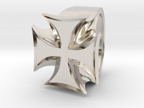 Iron Cross Ring in Platinum