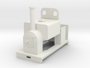 Gn15 loco square saddle tank with weatherboard in White Strong & Flexible