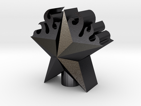 3D Flame Staruntitled in Polished Grey Steel