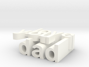 happy fathers day pendent  in White Strong & Flexible Polished