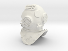 Old Diving Helmet LifeSize in White Strong & Flexible