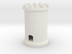 Chess Tower or Folly with circular staircase  two  in White Strong & Flexible
