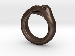 Ouroboros Ring in Matte Bronze Steel