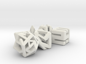 Connect Dice Set in White Strong & Flexible