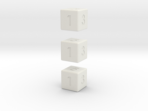 6-sided die (d6) x3 in White Strong & Flexible