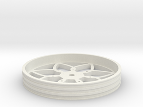 100mmFloppyBotWheel-01 in White Strong & Flexible