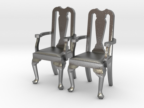 Pair of 1:48 Queen Anne Chairs, with arms in Raw Silver
