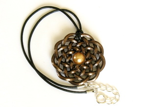 Woven Starburst Pendant in Polished Bronze Steel