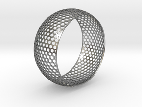 Vertical Honey Comb Rounded Bracelet in Raw Silver
