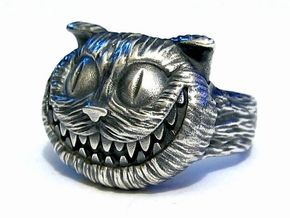 Cheshire Cat Ring in Raw Silver