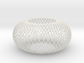 Torus Curved Line mesh wired in White Strong & Flexible