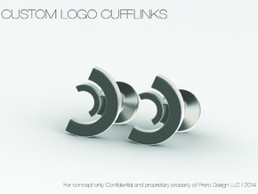 Custom Logo Cufflinks in Polished Silver