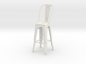 1:24 Tall Pauchard Stool, with High Back in White Strong & Flexible