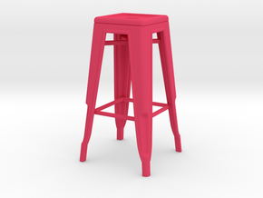 1:12 Tall Pauchard Stool in Pink Strong & Flexible Polished
