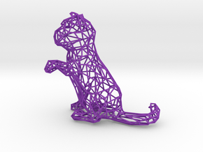 3D Wire Kitten (Not Exploding Kittens) in Purple Strong & Flexible Polished