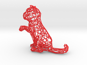 3D Wire Kitten (Not Exploding Kittens) in Red Strong & Flexible Polished
