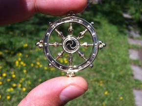 Wheel of Life Pendant - Dharmchakra in Polished Brass