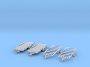 Flatbed trailers and trailer frames X4 HO Scale 1/ in Frosted Ultra Detail