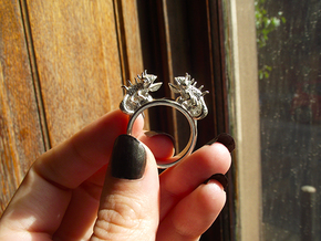 Twin Chameleon Ring in Premium Silver