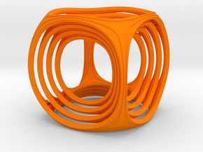 Gyro the Cube in Orange Strong & Flexible Polished