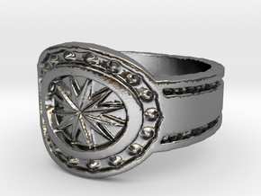 Wild West statement Ring (Size 8) in Polished Silver